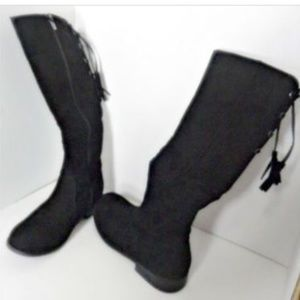 Justice Tall Boots Sz 4 Black Suede Side Zip NWD